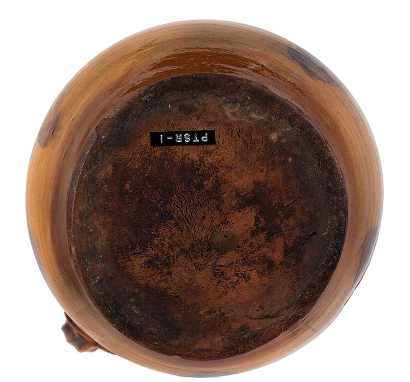 Redware Stew Pot, Lidded Jar, Pecker Pottery, Merrimackport, Massachusetts, bottom view