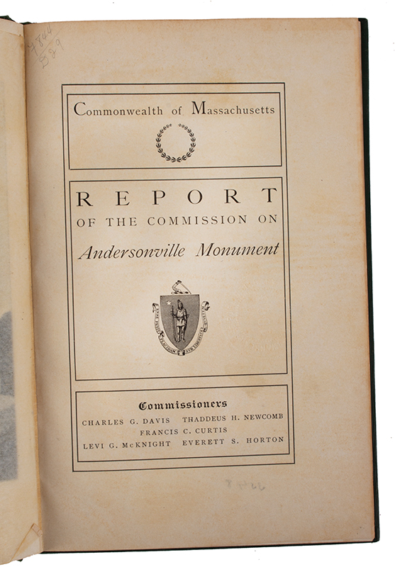 Book: Report on the Commission on Andersonville Monument (Commonwealth of Massachusetts), page view
