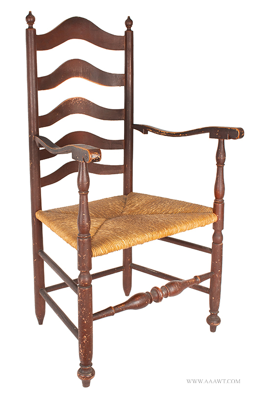 Armchair, Delaware, Great Original Red paint, 5 Arched Graduating Slats Circa 1760, angle view