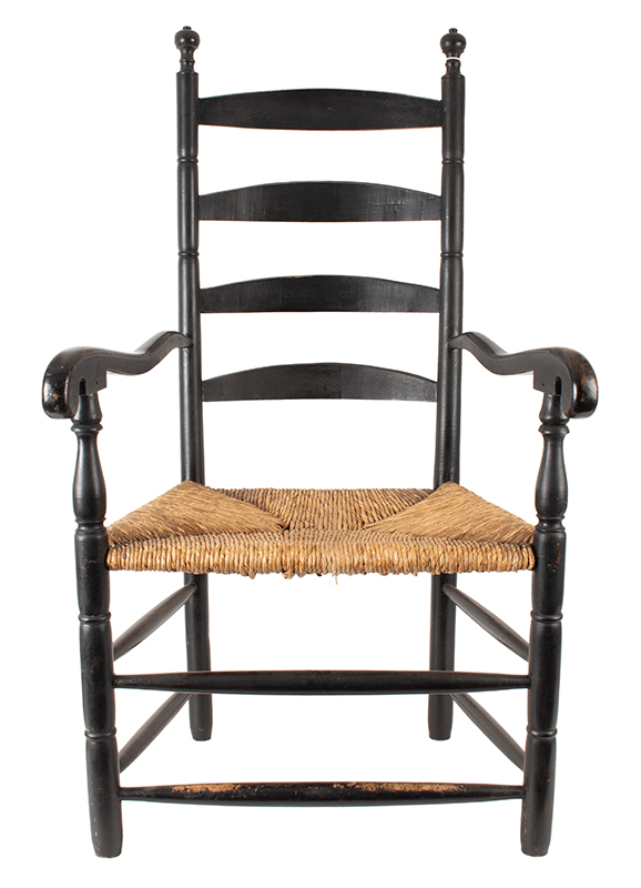 Antique Ladderback Armchair, Four Arched Splats, Ball & Ring Finials  Probably Portsmouth, New Hampshire or Vicinity, Circa 1800, entire view 1