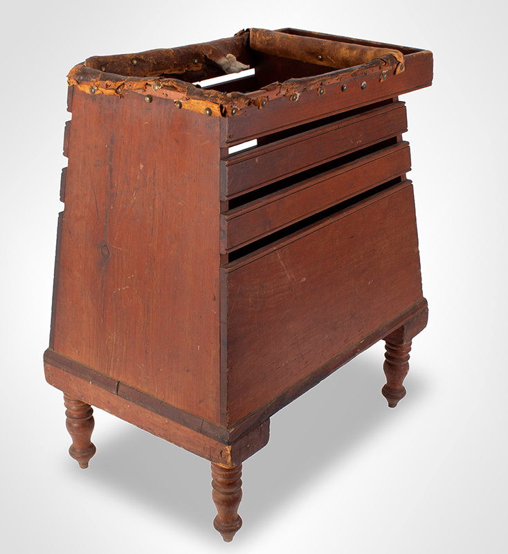 19th C. Baby Tender, Canted Sides, Beaded Slats, Padded Rails, Original Paint New England, Early 19th Century White Pine, original red paint, leather rails stuffed with wool…, entire view 4
