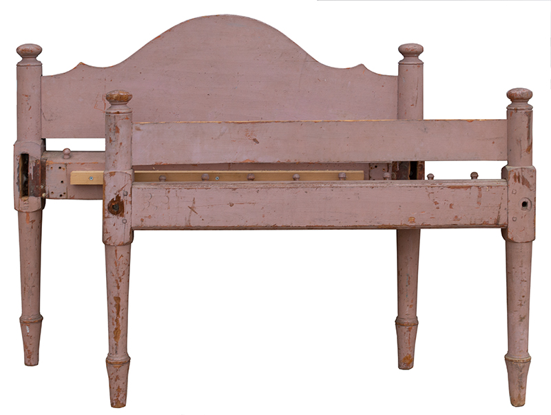 Antique, Childs Low Post Rope Bed, Day-Bed Puce Paint, New England, Circa 1800 Puce paint, dry surface over gray/blue paint  turned posts featuring compressed ball finials joining arched headboard, plain footboard, entire view