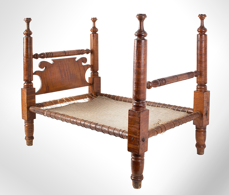 Large Antique Doll Bed, Curly Maple, Scrolled Headboard Pennsylvania, Philadelphia Area, circa 1830 A generously proportioned bed, will comfortable accommodate a 25-inch doll, entire view 1