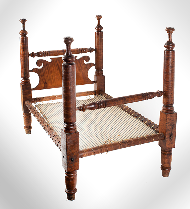 Large Antique Doll Bed, Curly Maple, Scrolled Headboard Pennsylvania, Philadelphia Area, circa 1830 A generously proportioned bed, will comfortable accommodate a 25-inch doll, entire view 2