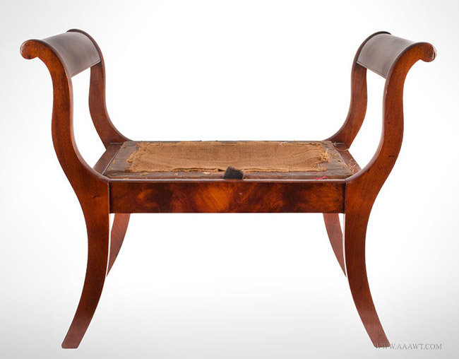 Antique Childs Window Seat/Bench with Scrolled Ends and Saber Legs, Circa 1815, entire view