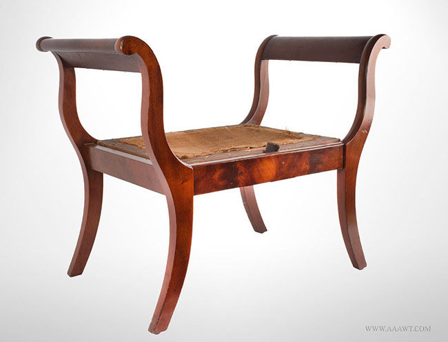 Antique Childs Window Seat/Bench with Scrolled Ends and Saber Legs, Circa 1815, angle view