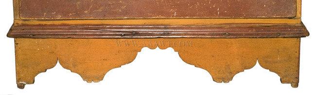 Antique Queen Anne Blanket Chest in Original Paint and Original Brasses, Circa 1740, apron detail