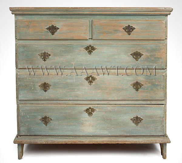 Blanket Chest, Old Blue Paint New England 18th Century Poplar case, chestnut drawer bottom, entire view