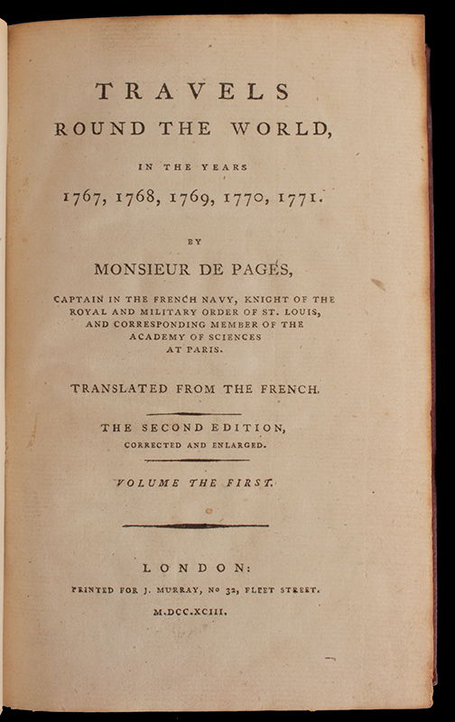 Book: Travels Round the World in the Years 1767,1768, 1769, 1770,1771 by Monsieur de Pages, Translated from the French Volume 1 (only) of a 3 Vol Set, page view