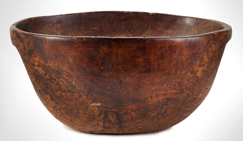 Eighteenth Century, Native American Carved Burl Bowl, Great Size & Patina Woodlands, New England, entire view 1