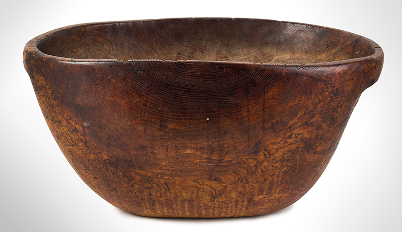 Eighteenth Century, Native American Carved Burl Bowl, Great Size & Patina Woodlands, New England, entire view 2