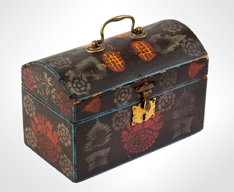 Small Dome Top Paint Decorated Trunk, Unique & Original Painted Decoration, entire view 2