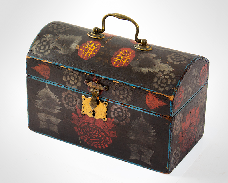 Small Dome Top Paint Decorated Trunk, Unique & Original Painted Decoration, entire view 3