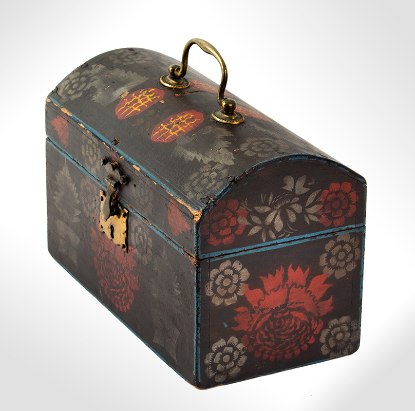Small Dome Top Paint Decorated Trunk, Unique & Original Painted Decoration, entire view 4