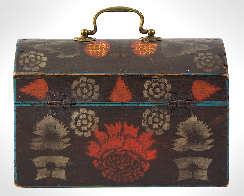 Small Dome Top Paint Decorated Trunk, Unique & Original Painted Decoration, entire view 6