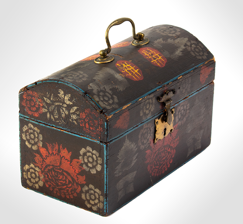 Small Dome Top Paint Decorated Trunk, Unique & Original Painted Decoration, entire view 5