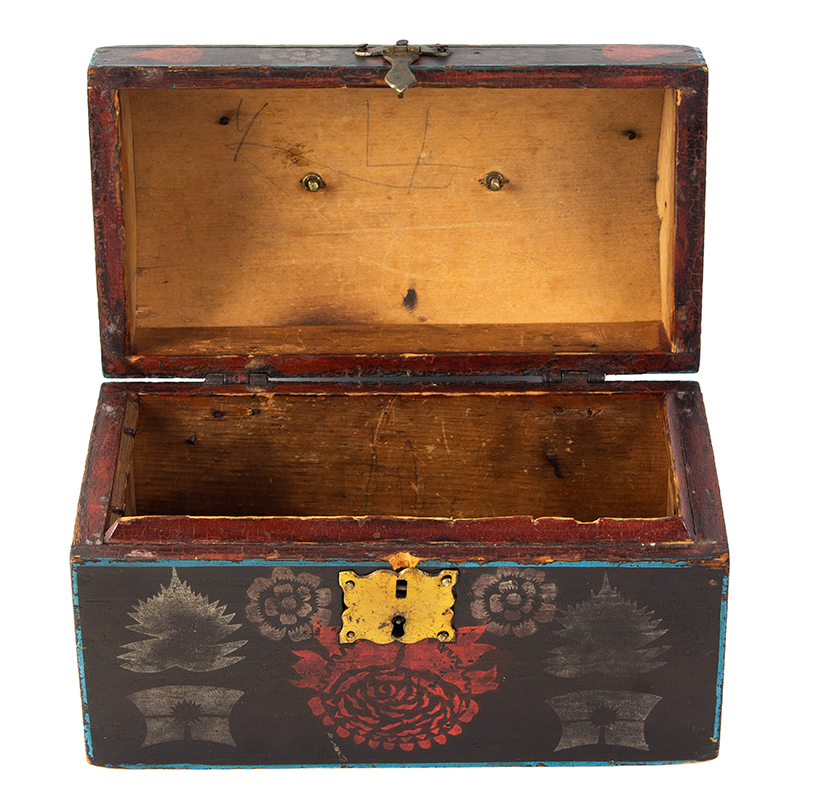 Small Dome Top Paint Decorated Trunk, Unique & Original Painted Decoration, entire view 7