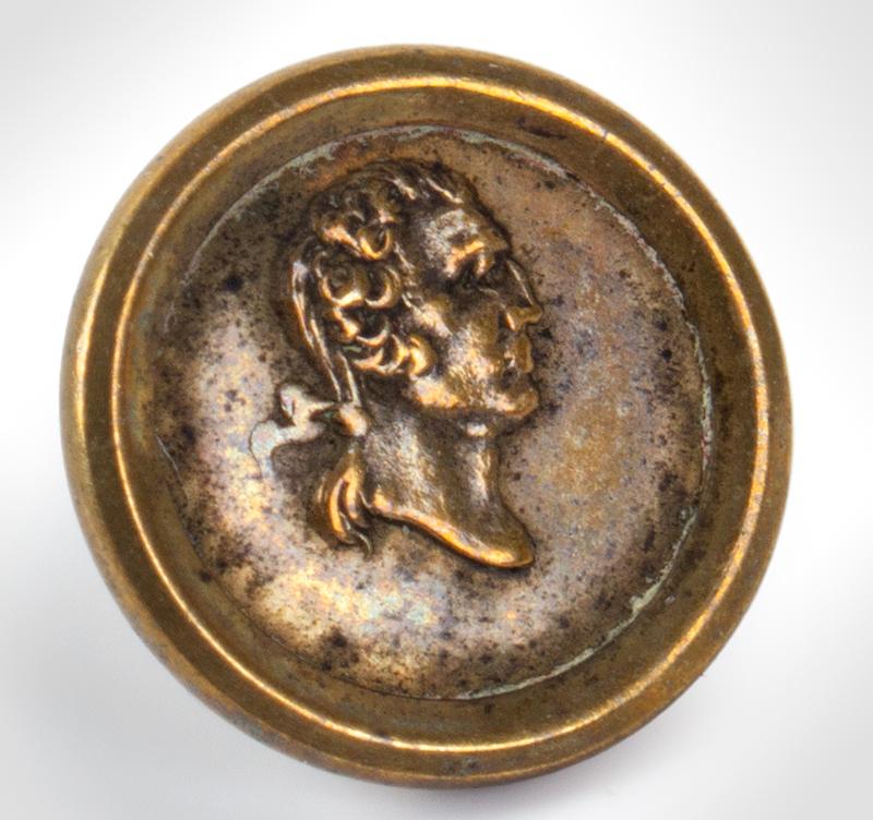 "George Washington Commemorative Button, Albert PC 46 C, 1 Piece Raised Rim Back mark: ""SUPEROR"" with stars, entire view"