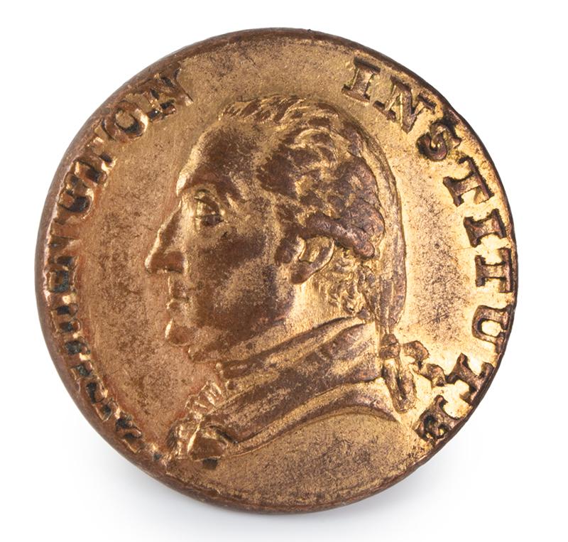 Washington Institute Coat Button, Portrait Bust of George Washington, entire view