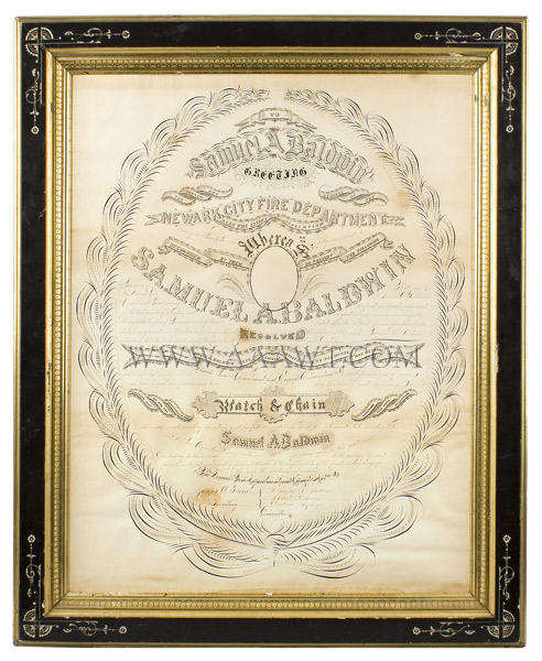 Antique Calligraphy, Fire Department Recognition, 25 Years of Service Newark City Fire Department, New Jersey For Samuel A. Baldwin  By G.W. Carpenter, Penman, New York, entire view 1
