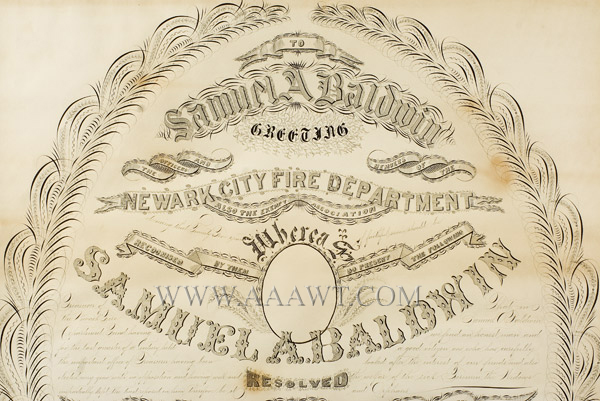 Antique Calligraphy, Fire Department Recognition, 25 Years of Service Newark City Fire Department, New Jersey For Samuel A. Baldwin By G.W. Carpenter, Penman, New York, detail view 1