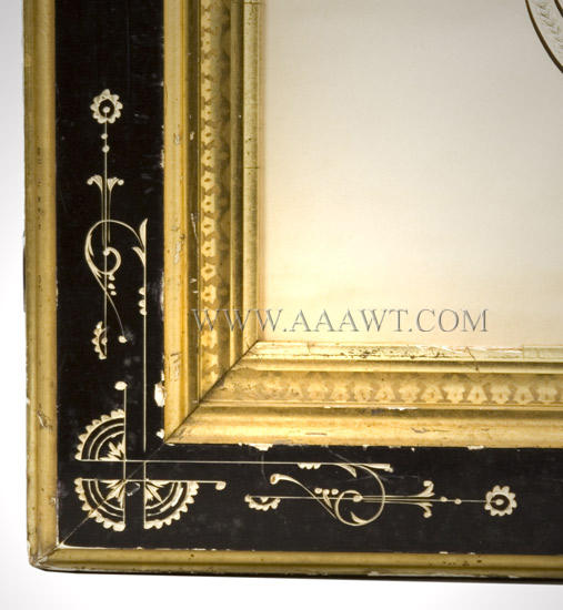 Antique Calligraphy, Fire Department Recognition, 25 Years of Service Newark City Fire Department, New Jersey For Samuel A. Baldwin By G.W. Carpenter, Penman, New York, frame detail