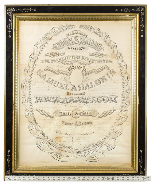 Antique Calligraphy, Fire Department Recognition, 25 Years of Service Newark City Fire Department, New Jersey For Samuel A. Baldwin  By G.W. Carpenter, Penman, New York, scale view