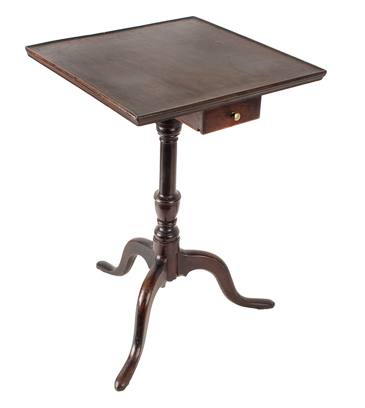 Antique Candlestand, Candle Drawer, Molded Top Connecticut, Hartford Area, Circa 1780-1810 Cherry: the wonderfully mahoganized surface is likely original, entire view 2