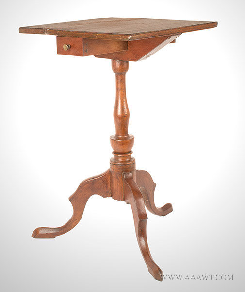 Candlestand, Queen Anne, Spurred cabriole Legs, Slipper Feet, Candle Drawer Connecticut, Circa 1800, angle view