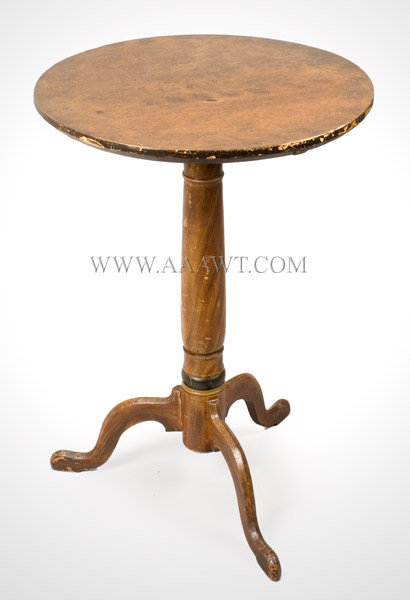 Candlestand, Original Paint, Faux Graining New England Early 19th Century, angle view