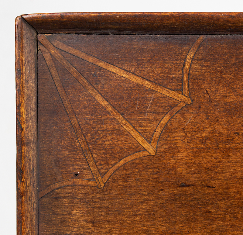 Antique Candlestand; Federal Inlaid Cherrywood Table, Tray Top, Candle Drawer Connecticut River Valley, Circa 1780-1820 Cherry, detail view 3