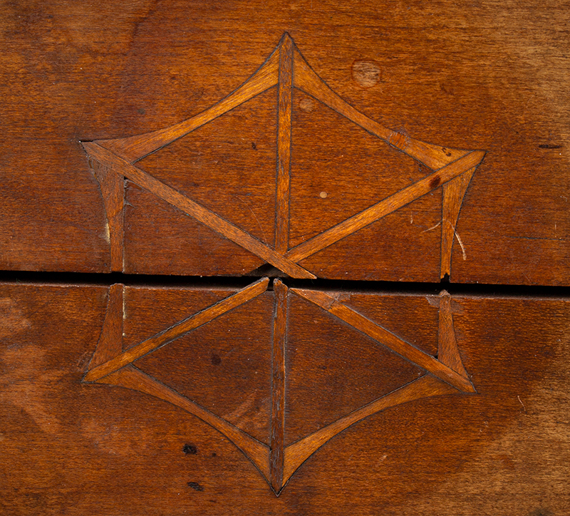 Antique Candlestand; Federal Inlaid Cherrywood Table, Tray Top, Candle Drawer Connecticut River Valley, Circa 1780-1820 Cherry, detail view 4
