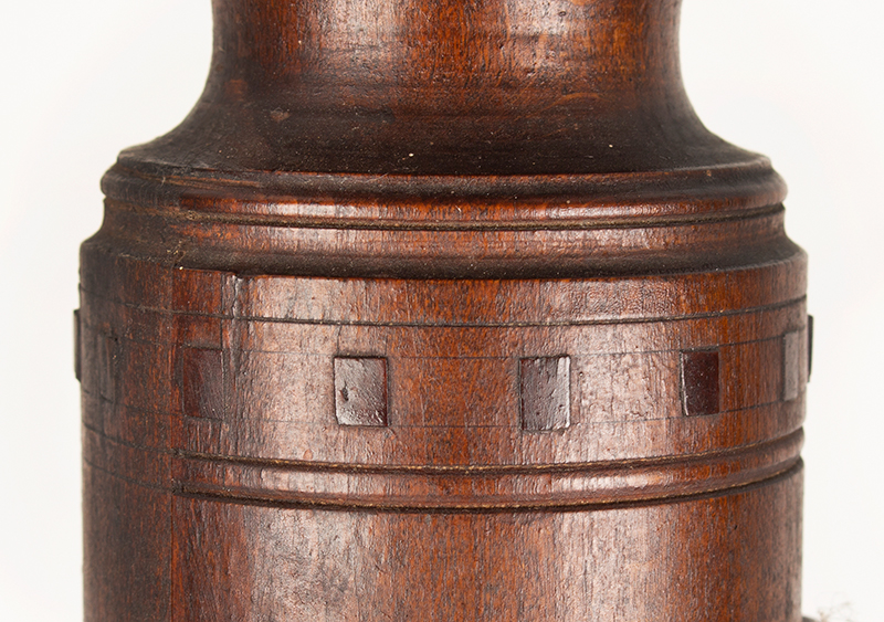 Antique Candlestand; Federal Inlaid Cherrywood Table, Tray Top, Candle Drawer Connecticut River Valley, Circa 1780-1820 Cherry, detail view 7
