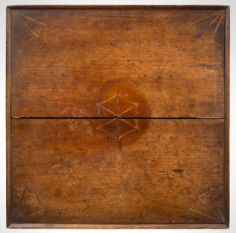 Antique Candlestand; Federal Inlaid Cherrywood Table, Tray Top, Candle Drawer Connecticut River Valley, Circa 1780-1820 Cherry, top detail