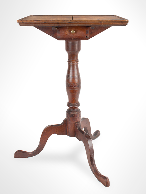 Antique Candlestand; Federal Inlaid Cherrywood Table, Tray Top, Candle Drawer Connecticut River Valley, Circa 1780-1820 Cherry, entire view 2