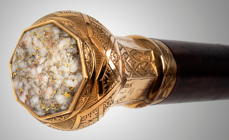 Gold & Gold Quartz Dual Presentation Cane, General Samuel Breck Martin White – Jan. 25, 1872 – James Maybery Second Presentation: To Gen. Samuel Breck - 1900, detail view 2