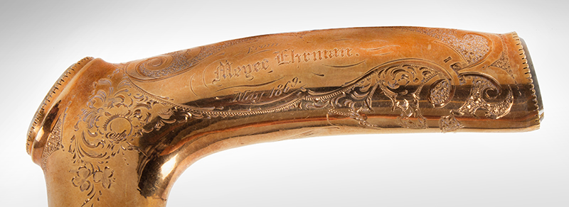 Gold and Gold Quartz Presentation Cane, Leon Ehrman to Myer Ehrman, 1869, detail view 3