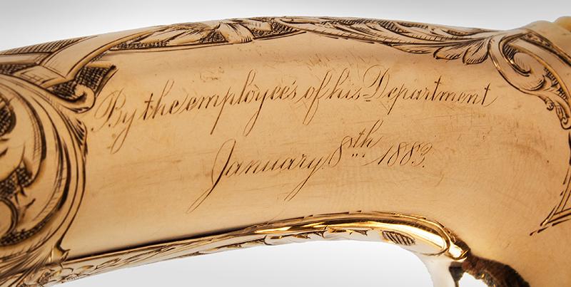 Gold Quartz Presentation Cane, D.M. Burns, Secretary of State, California, 1883, detail view 3