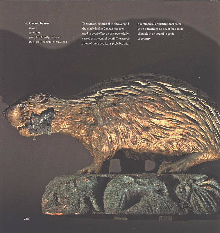 Folk Art, Carved Beaver, Gilded and Painted Architectural Expression National Symbol of the Sovereignty of Canada, book scan 2