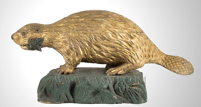 Folk Art, Carved Beaver, Gilded and Painted Architectural Expression National Symbol of the Sovereignty of Canada, entire view 1