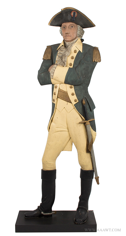 Folk Art, Carved & Painted Trade Figure of George Washington in Uniform A relaxed and confident portrait displaying great attitude and surface Anonymous, entire view 1