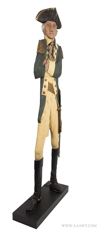 Folk Art, Carved & Painted Trade Figure of George Washington in Uniform A relaxed and confident portrait displaying great attitude and surface Anonymous, entire view 2