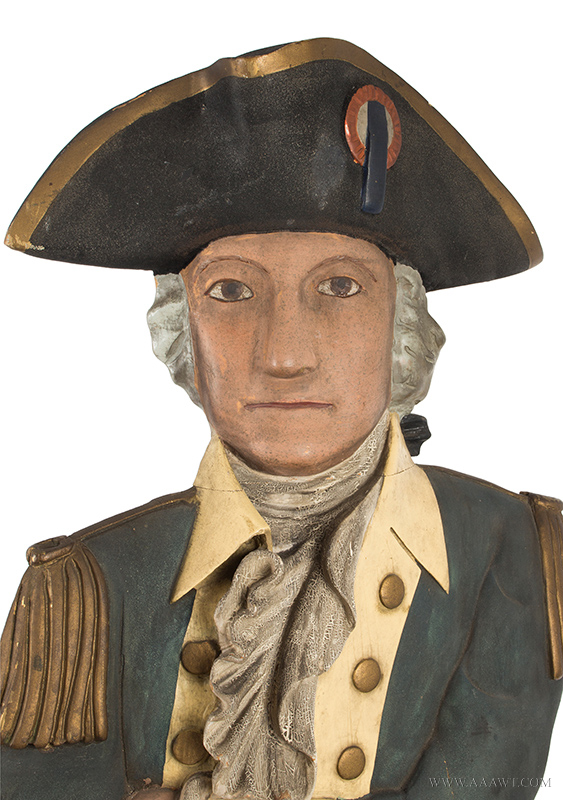 Folk Art, Carved & Painted Trade Figure of George Washington in Uniform A relaxed and confident portrait displaying great attitude and surface Anonymous, entire view 3