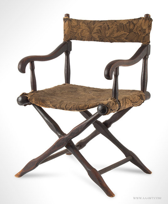 Antique Civil War Era Childs Wooden Folding Camp Chair, angle view