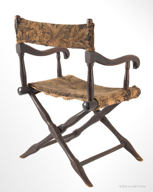 Antique Civil War Era Childs Wooden Folding Camp Chair, rear angle view