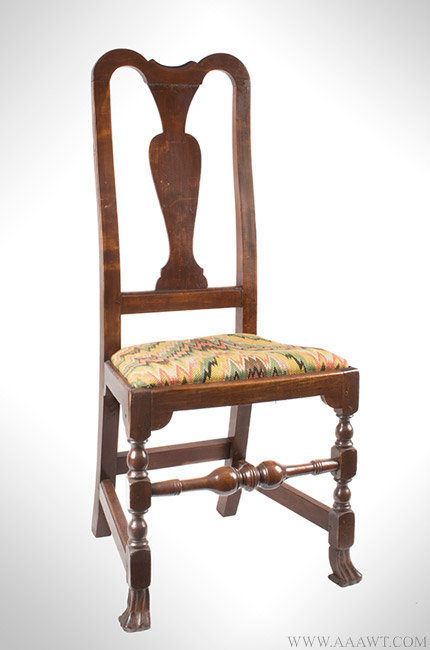 Antique Queen Anne Side Chair with Yoke Crest and Spanish Feet, 18th Century, angle view