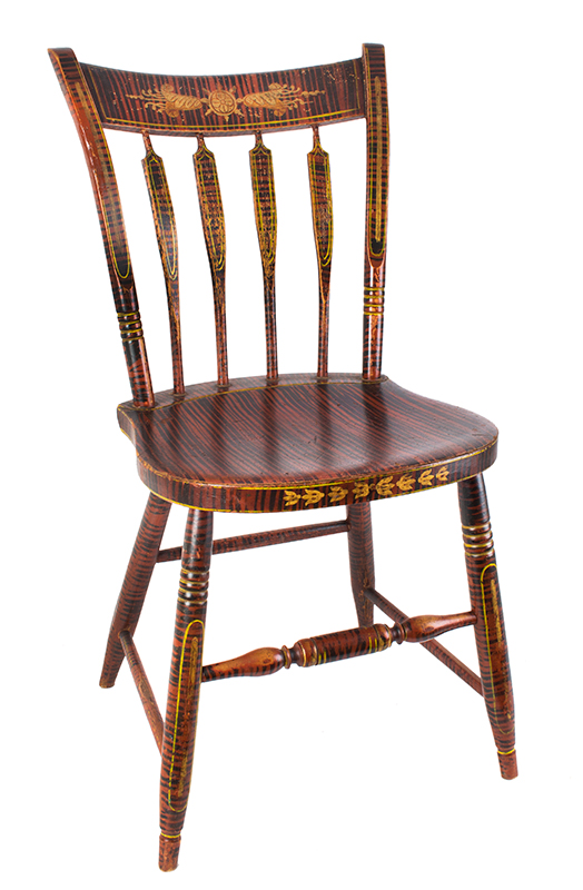 Antique Windsor Side Chair, Paint Decorated America, Hitchcock Type, circa 1825-1840 Outstanding Painted Decoration, entire view 2