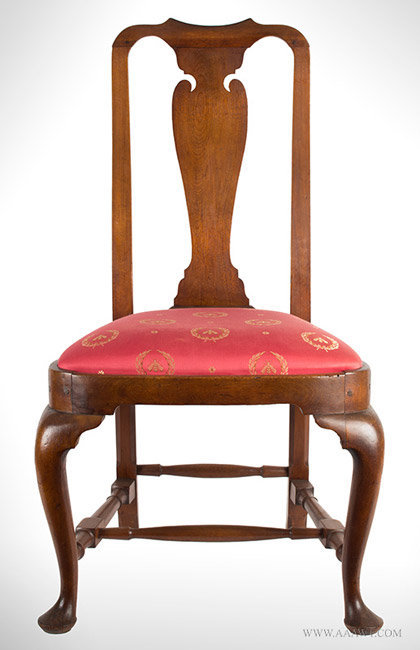 Chair-Side, Queen Anne, Walnut, Yoke Crest, Vasiform Splat, Compass Seat Massachusetts, Circa 174-1760, entire view