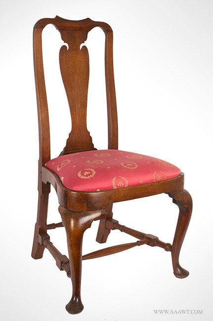 Chair-Side, Queen Anne, Walnut, Yoke Crest, Vasiform Splat, Compass Seat Massachusetts, Circa 174-1760, angle view