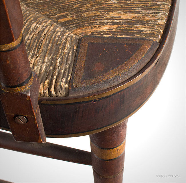 Antique Fancy Windsor Rocking Chair in Original Paint, American, seat detail